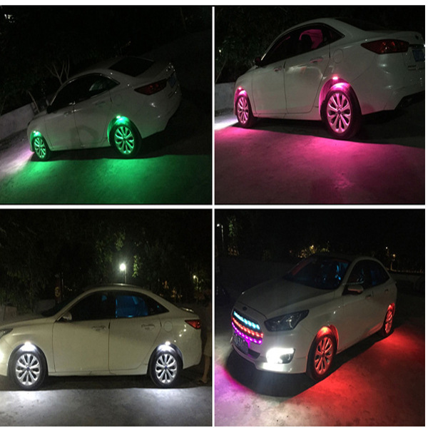 4pcs LED Car Strobe Flashing Light Universal Chassis Light Automobile Wheel Eyebrow Lamp