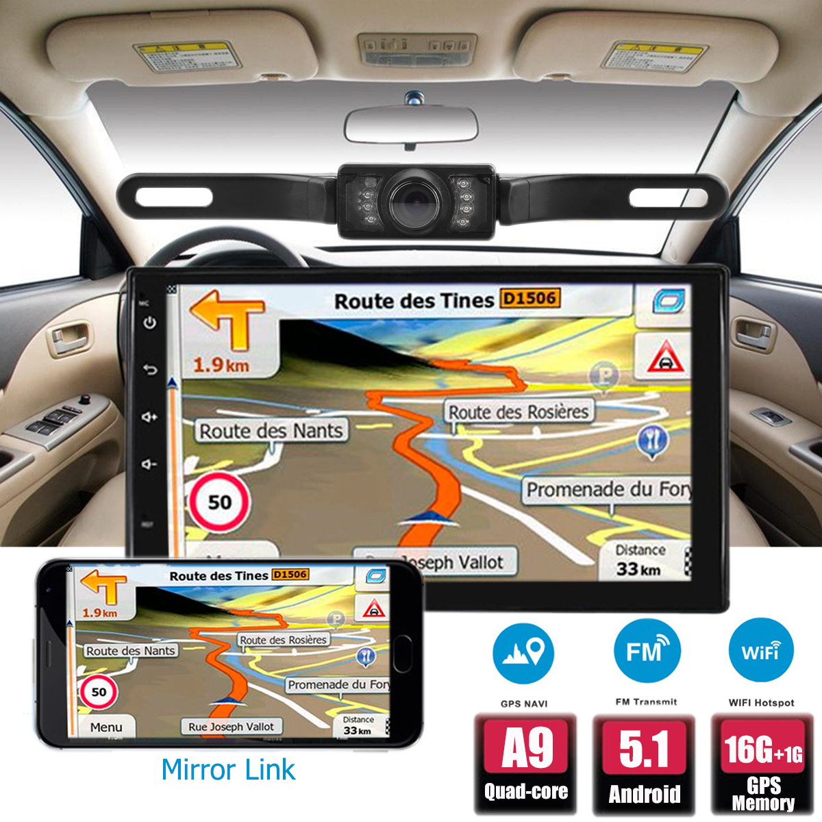 7 Inch Android Quad Core 2 DIN Car MP5 Player GPS 4G WIfi Bluetooth+Free Cam