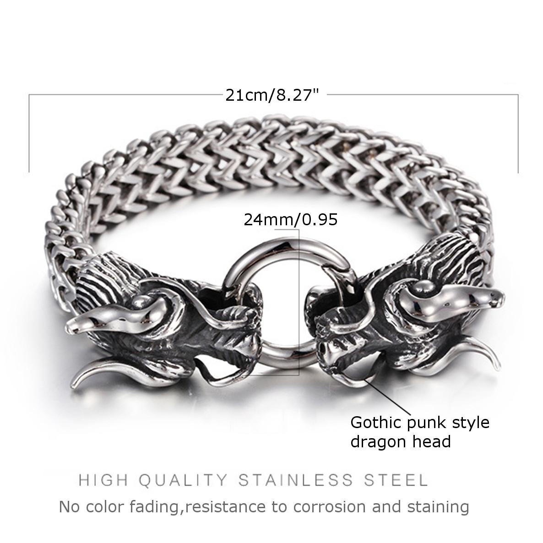 Silver Dragon Head Cuff Bangle Bracelet