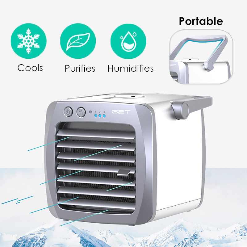 3 in 1 Air Cooler Portable Mini Air Conditioner Fan Humidifier Portable Personal Space Cooler Mini Cooler 3 Gear Speed Office Cooler Humidifier & Purifier for Room Office Desktop