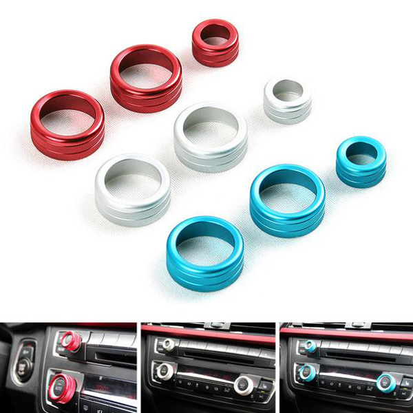 3pcs/set Car Alu Decorative Covers Stereo A/C Knob Circles Knob Ring for BMW 5 6 7 series 5series GT