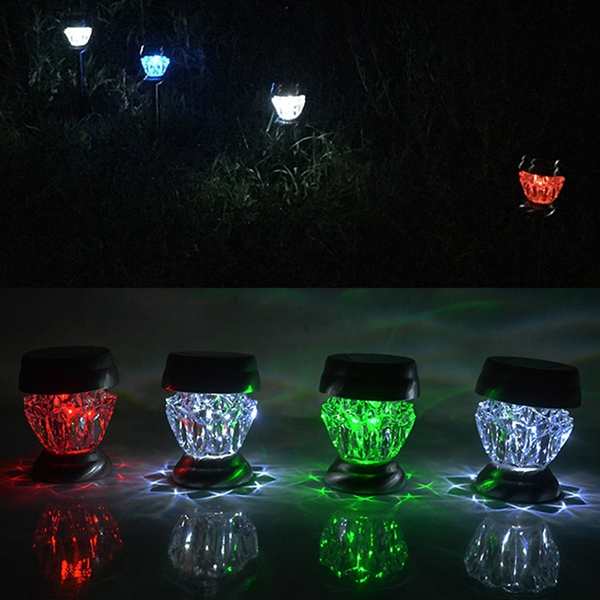 4pcs Stainless Steel Color Changing Solar LED Landscape Light for Outdooors Garden Pathway Yard