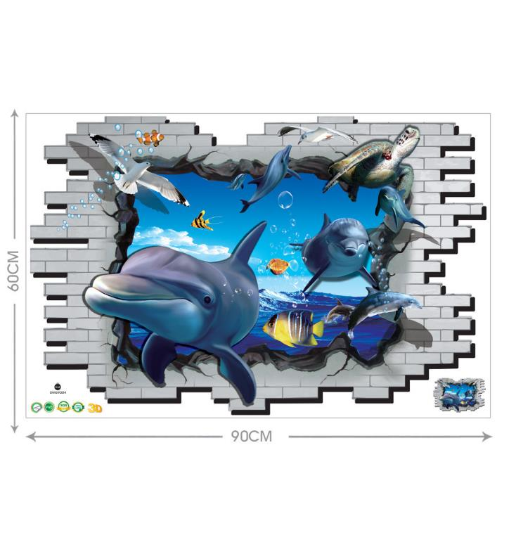 Miico 3D Creative PVC Wall Stickers Home Decor Mural Art Removable Dolphin Wall Decals