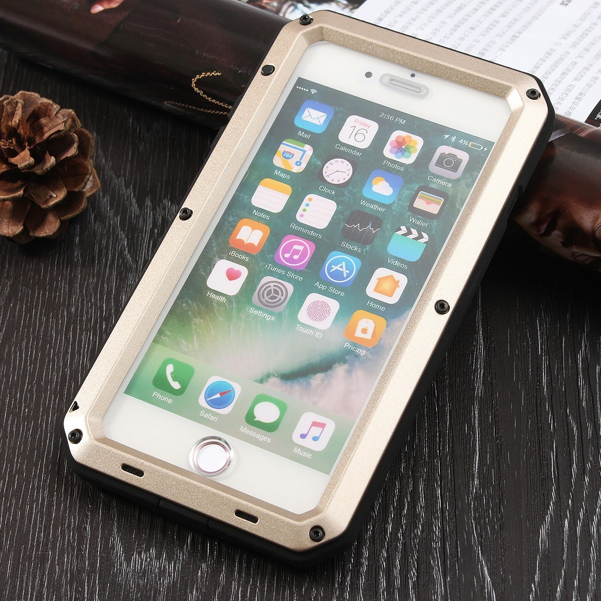 Aluminium Gel PE Shockproof Waterproof Case For iPhone 7 Plus/8 Plus