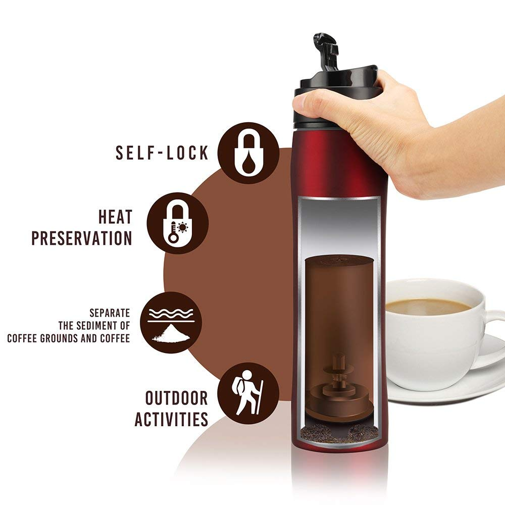 350ml BRBHOM Portable French Press Mug Coffee Maker Stainless Double Wall Tumbler For Camping Hot And Cold Brewer Vacuum Bottle