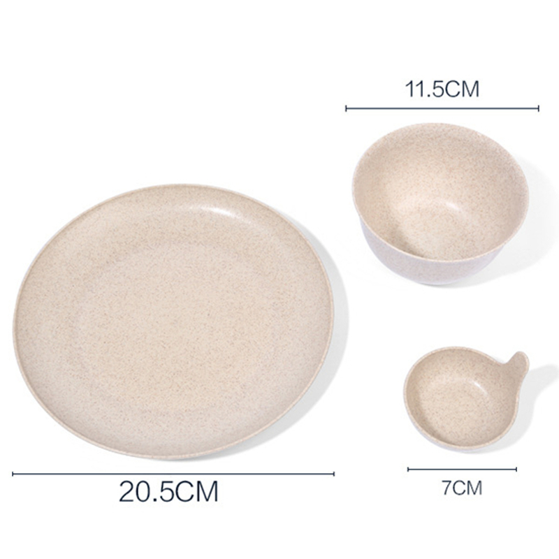 3psc / Set Bowl Plate Suit Rice Bowl Plate Spice Plate Premium Wheat Straw Cookware