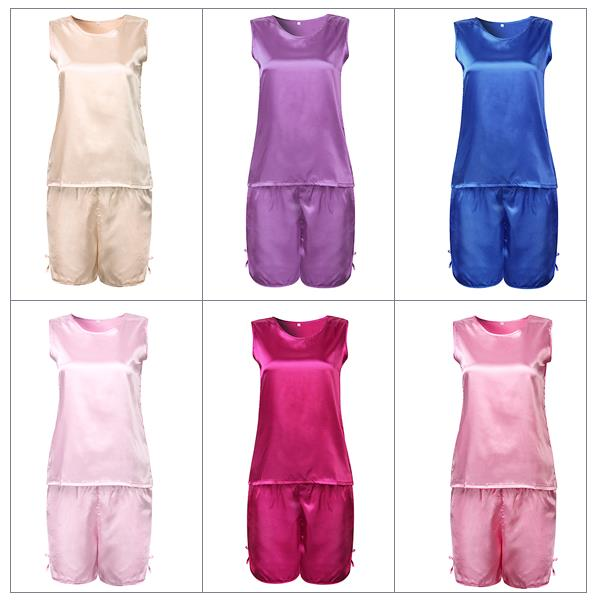 Sexy Ice Silk Sleeveless Soft Sleepwear Set Elegant Pajamas For Women 4866fe6f5