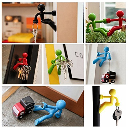 Honana HH-01 Anti Lost Key Magnet Holder Hook with Wall Climbing Man Design Strong Magnet for Refrigerator Fridge Home Office Wall Storage Rack