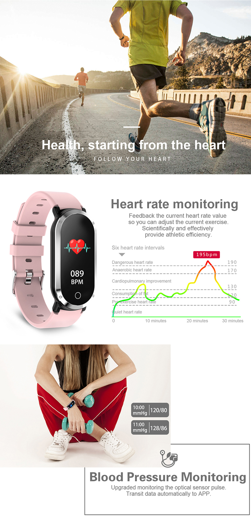 XANES® T1 0.96'' TFT Color Screen IP67 Waterproof Smart Watch Heart Rate Monitor Multiple Sports Modes Fitness Exercise Bracelet
