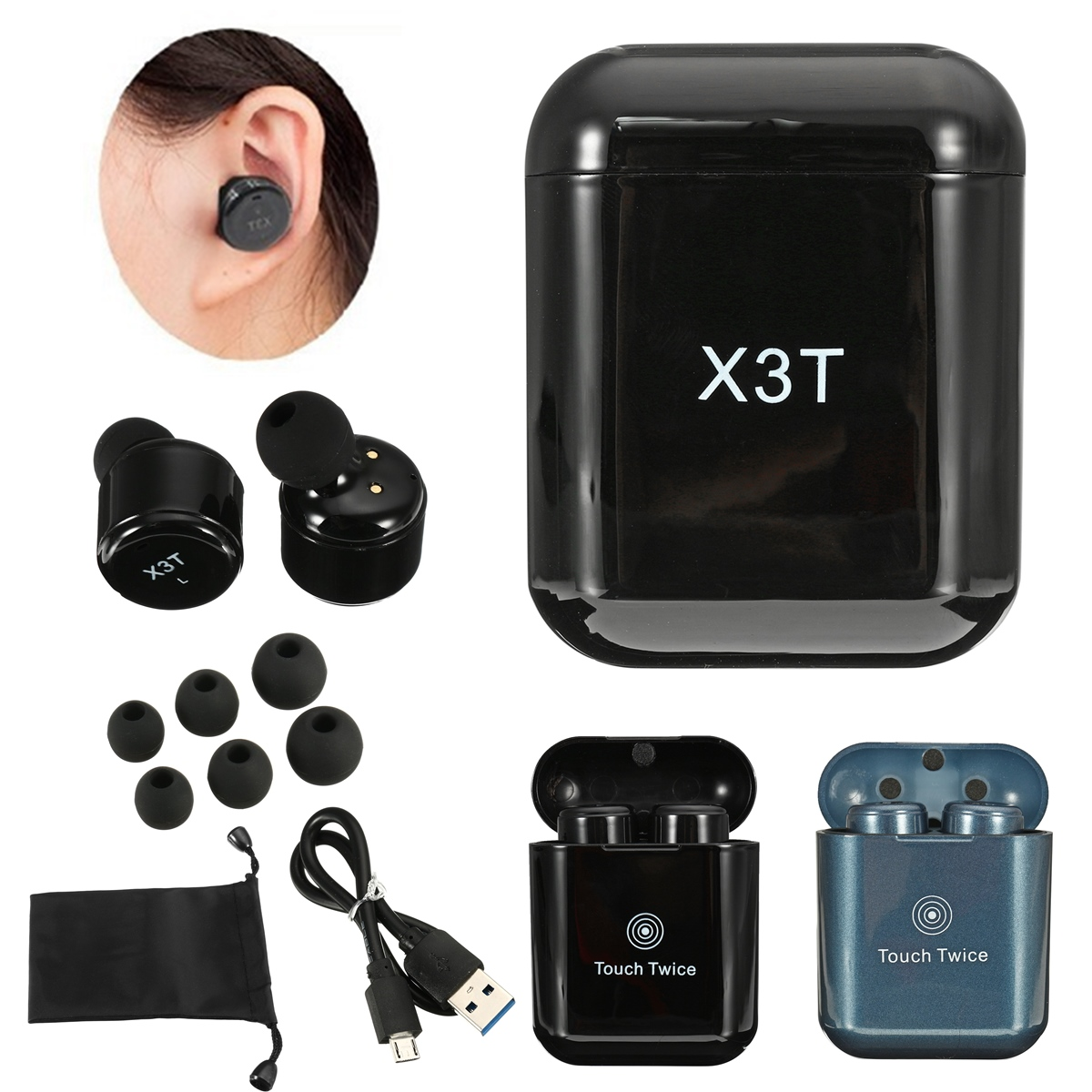 [True Wireless] X3T TWS Double bluetooth Earphones Stereo Touch Control Earbuds with Charging Box