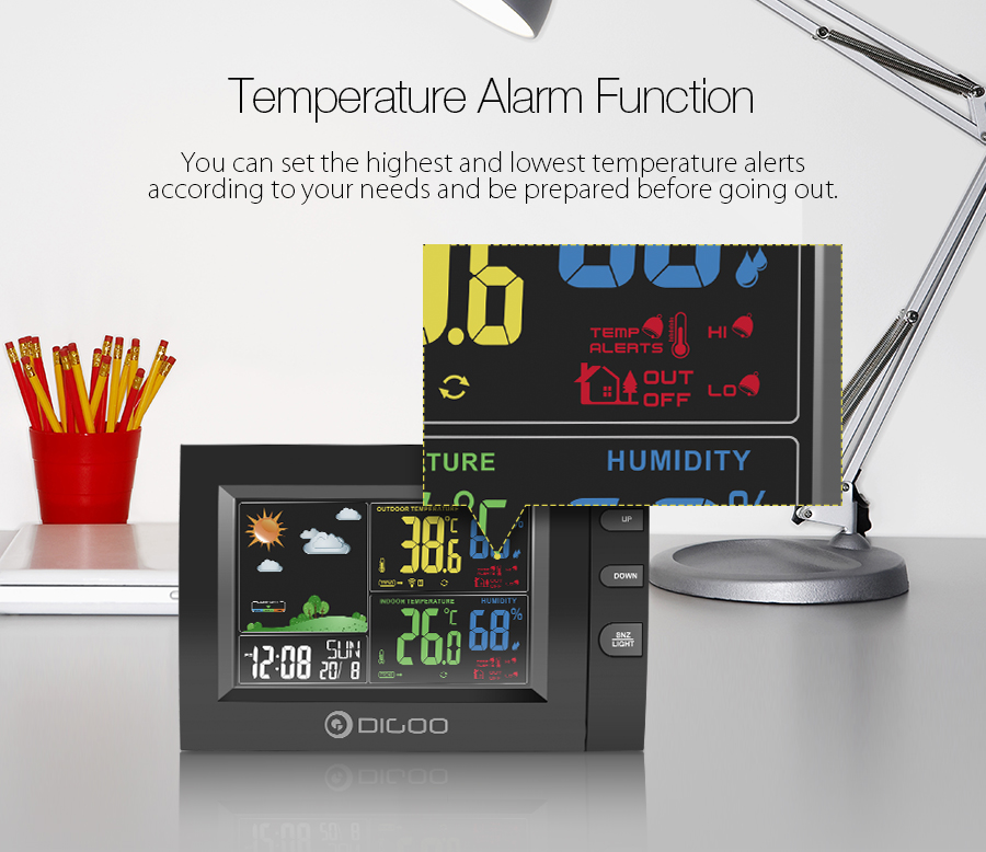 DIGOO DG-TH8530 Color Screen Weather Station USB Charge Output Port Temperature Alarm Dual Clock with Snooze Function Outdoor Indoor Home Thermometer Hygrometer Sensor