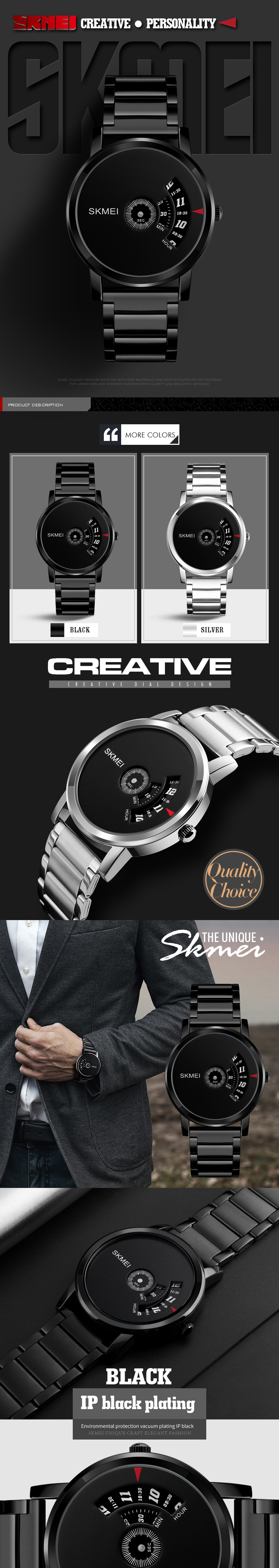 SKMEI 1260 Creative Watch Luxury Male Stainless Steel Strap Quartz Business Wrist Watch