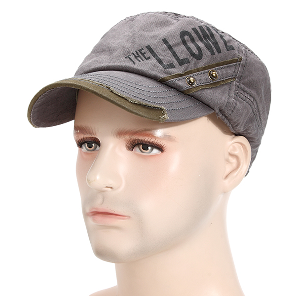 Mens Cotton Letter Flat Top Hat Casual Outdoor Sports Sunscreen Adjustable Baseball Caps