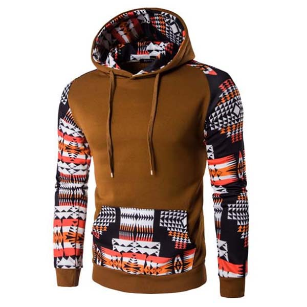 Mens Raglan Sleeve Printing Folk Style Sweatshirt Fashion Casual Retro Stitching Hoodies