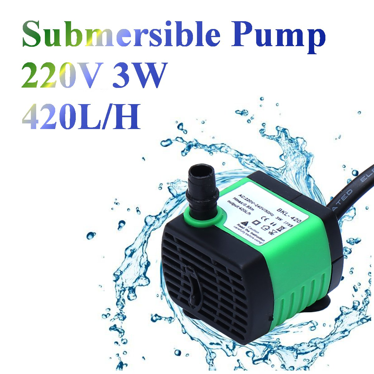 220V 450L/H Submersible Pump Aquarium Fish Tank Fountain Water Hydroponic