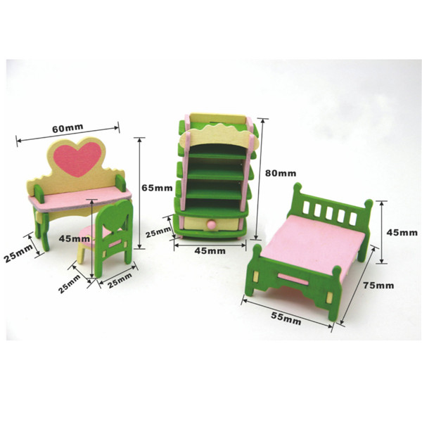 4 Sets of Delicate Wood Dollhouse Furniture Kits for Doll House Miniature