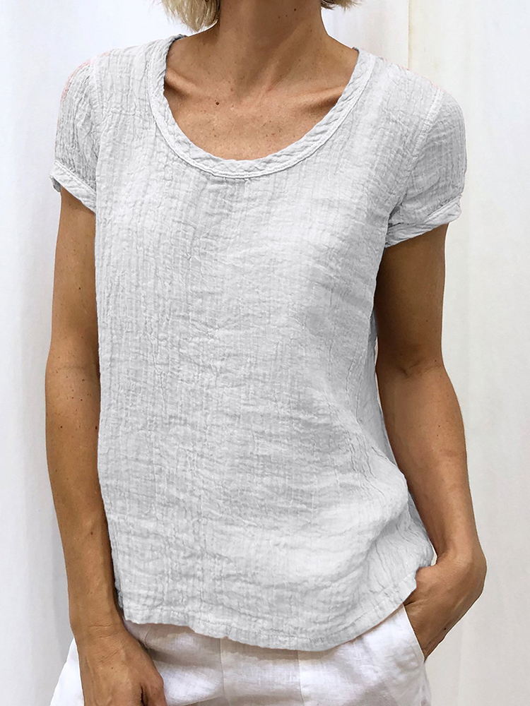 Women Solid Color Short Sleeve Round Neck Casual T-Shirts