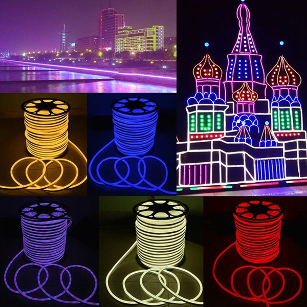 10M 2835 LED Flexible Neon Rope Strip Light Xmas Outdoor Waterproof 220V