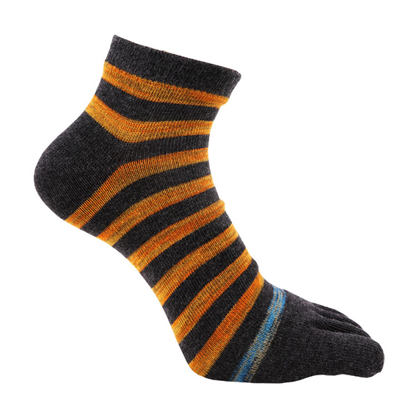 Men Striped Cotton Breathable Five Toe Socks Casual Ankle Socks For Male