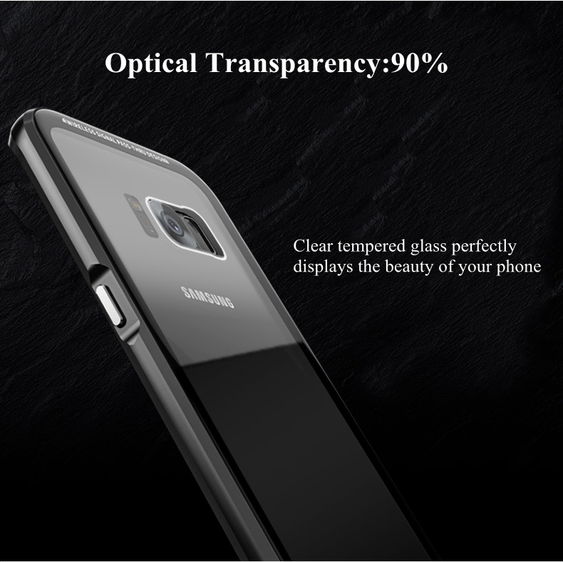 Luphie Metal Bumper+9H Tempered Glass Back Shell For Samsung S8