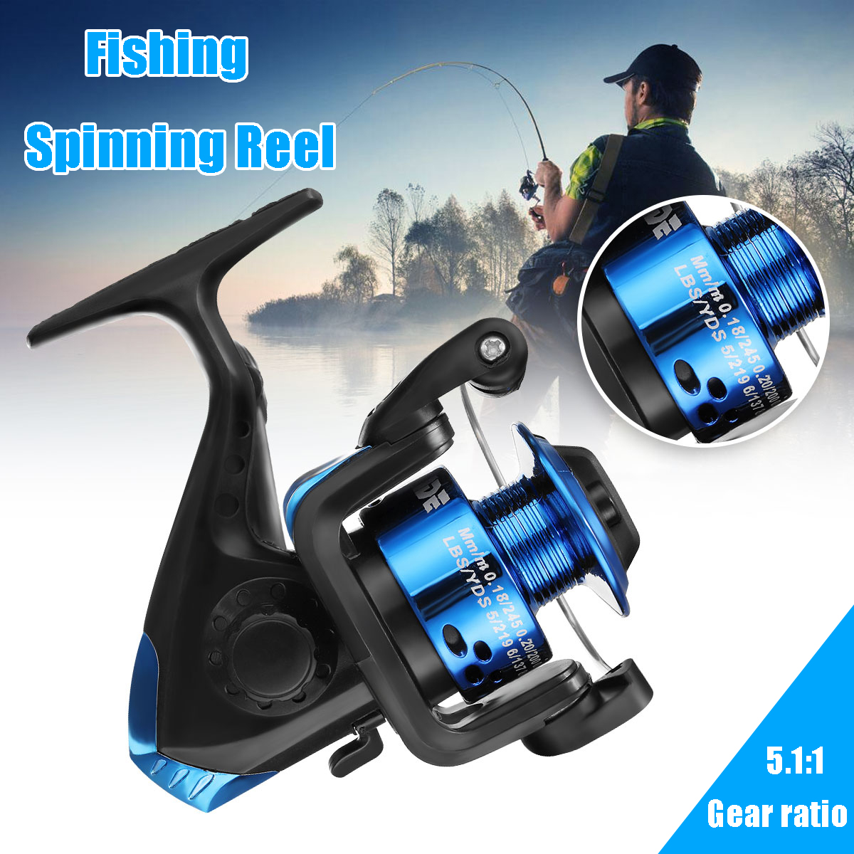 ZANLURE 200 5.1:1 3BB Plastic Blue Spinning Fishing Reel Bass Trout Sea Fishing Wheel