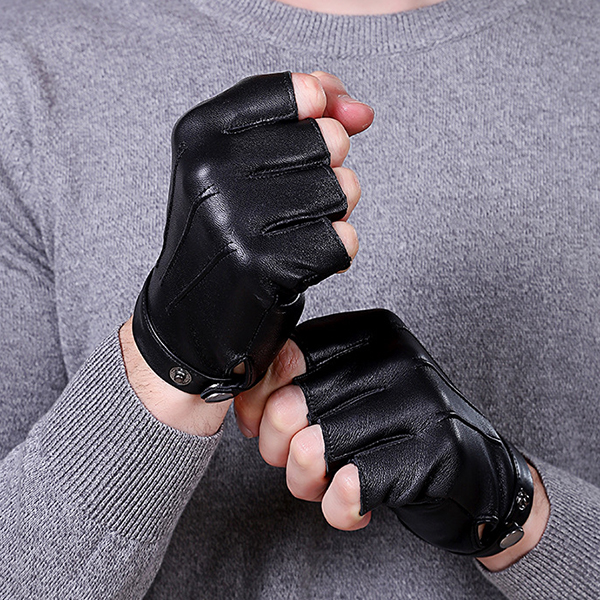 Unisex Leather Half Finger Skid Resistance Gloves