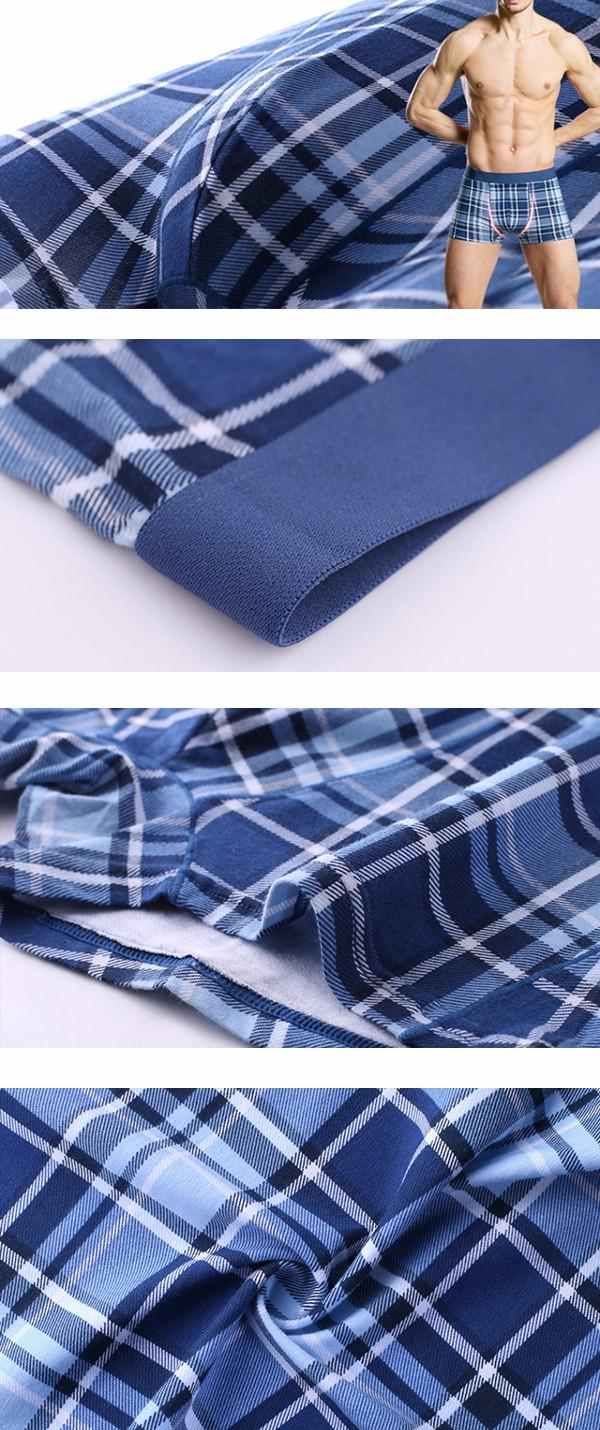 Mens Plaid Printing Casual U Convex Pouch Breathable Cotton Underwear Mid-rise Boxer