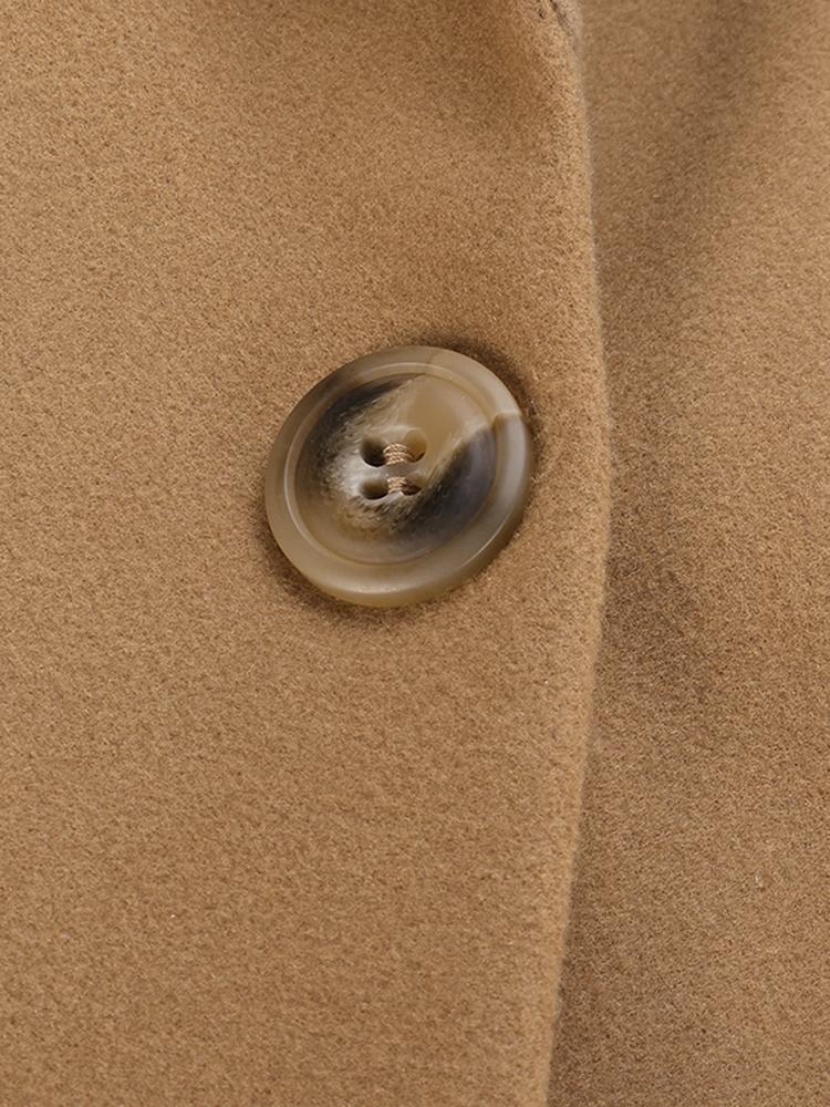 Elegant Women Lapel Long Sleeve Solid Color Button Long Coat