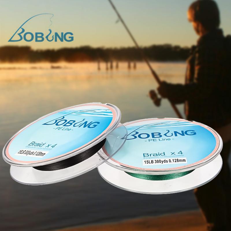 BOBING 300M 4 Strands PE Braided Power Fishing Line 6-15LB Multifilament Carp Sea Fishing Rope