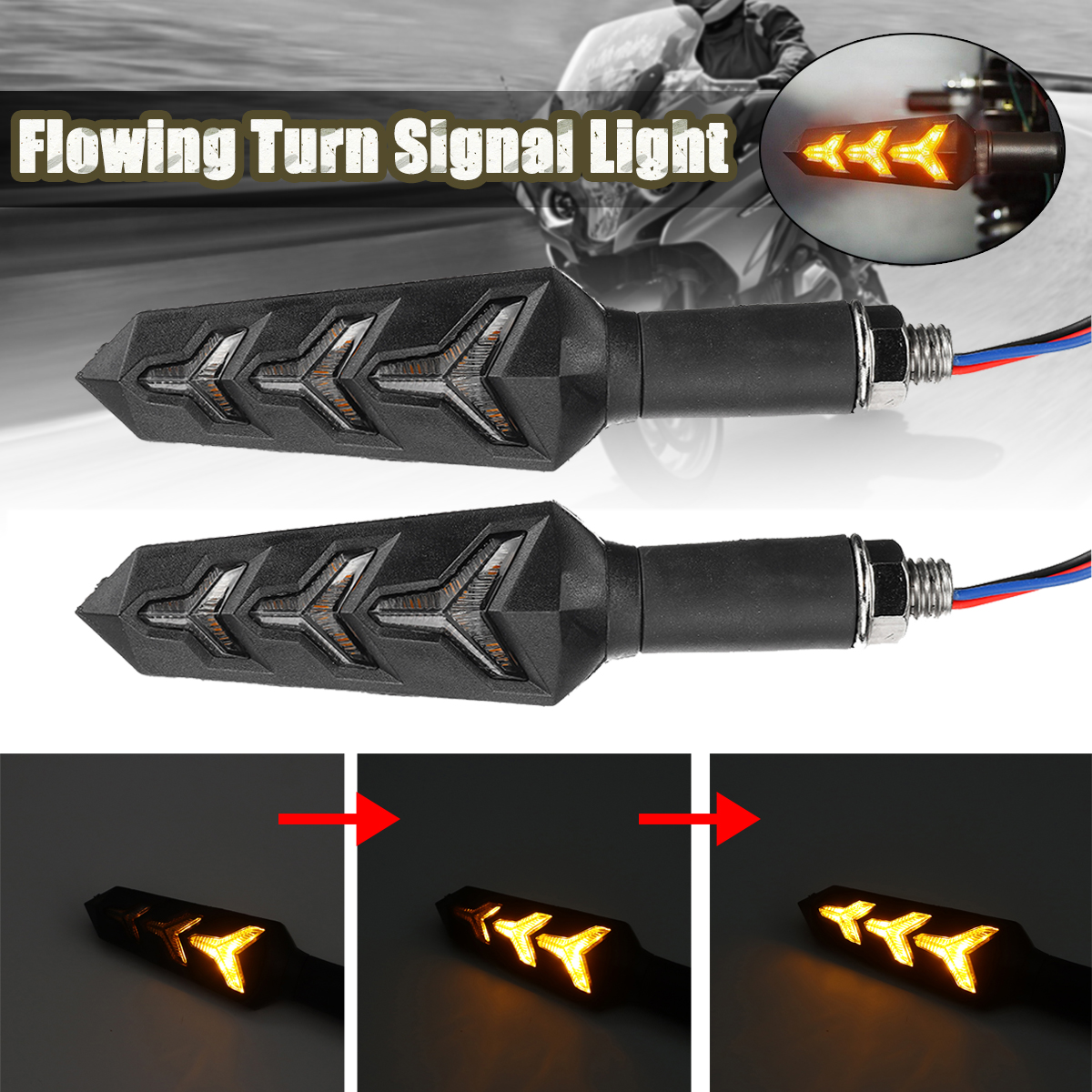 12V Amber Sequential Flowing LED Turn Signal Indicator Lights Motorcycle Universal