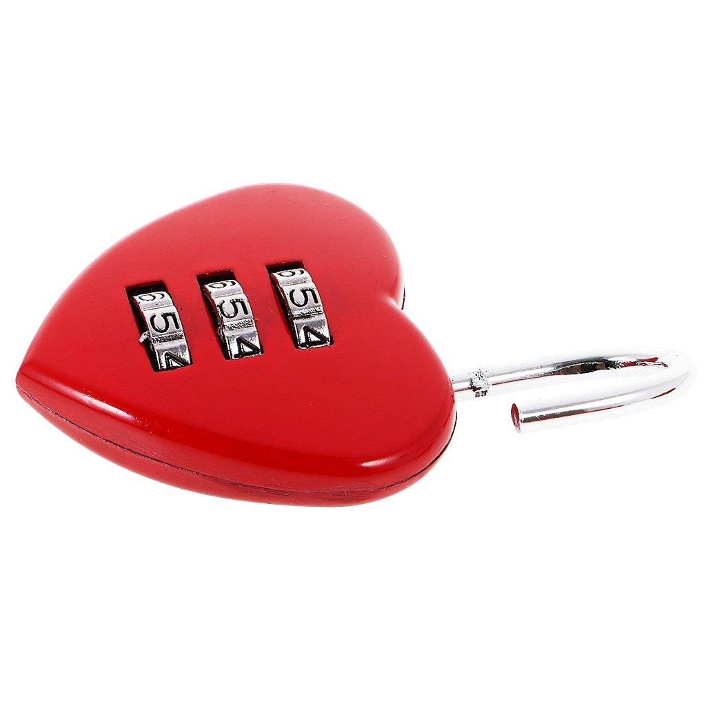 Heart Shaped 3 Digit Travel Luggage Padlock Resettable Combination Lock for School Gym&Sports Locker Luggage Suitcase Baggage Locks