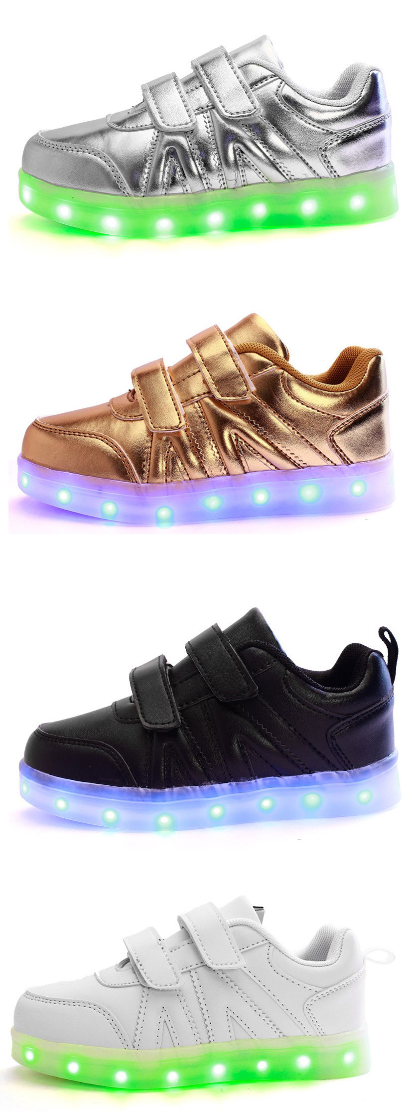 Kids LED Light Shoes Sneakers Leather Casual Boy Girl Shoes Children New