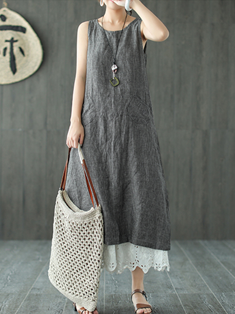 Women Sleeveless O-neck Solid Pocket Dress