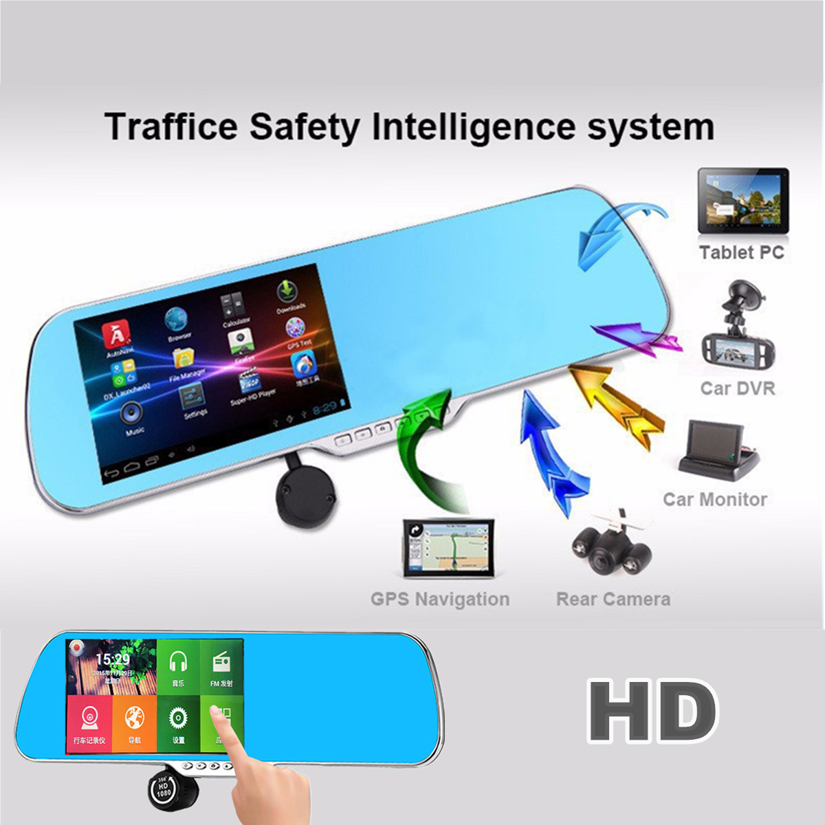 5 Inch HD Car GPS Rearview DVR Mirror Dash Cam Camera Android 4.4.2 Video Recorder