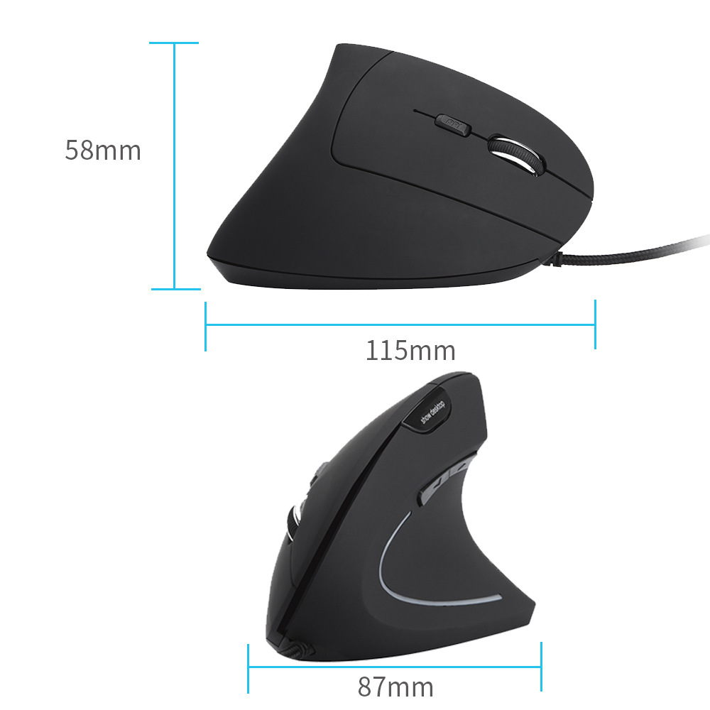 USB Wired Vertical Mouse 3200DPI Adjustable 7Buttons Ergonomic Gaming Mice Show Desktop