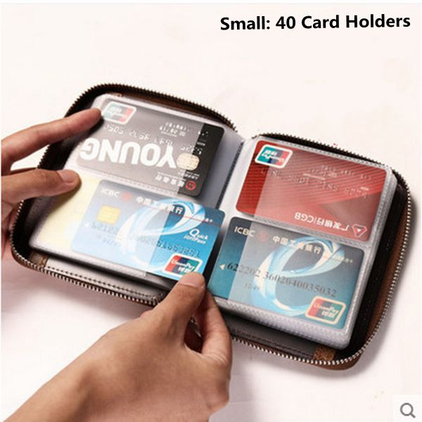 40 Card Slots Card Holder Genuine Leather Zipper Wallet Coin Purse For Women Men