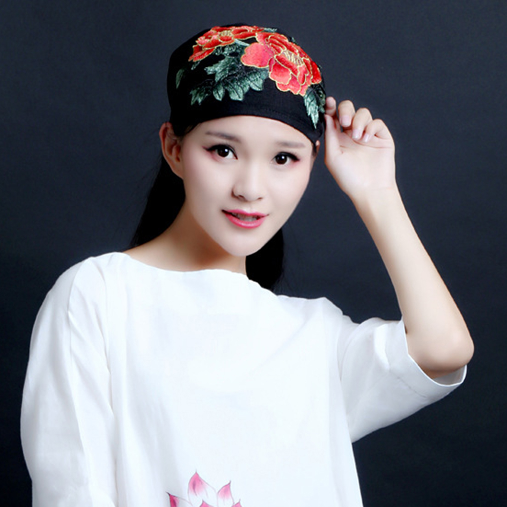 Women Vintage Floral Peony Embroidered Beanie Caps