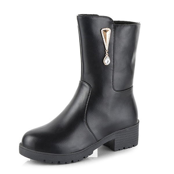 Women Winter Keep Warm Crystal Fashion Mid-Calf Boots
