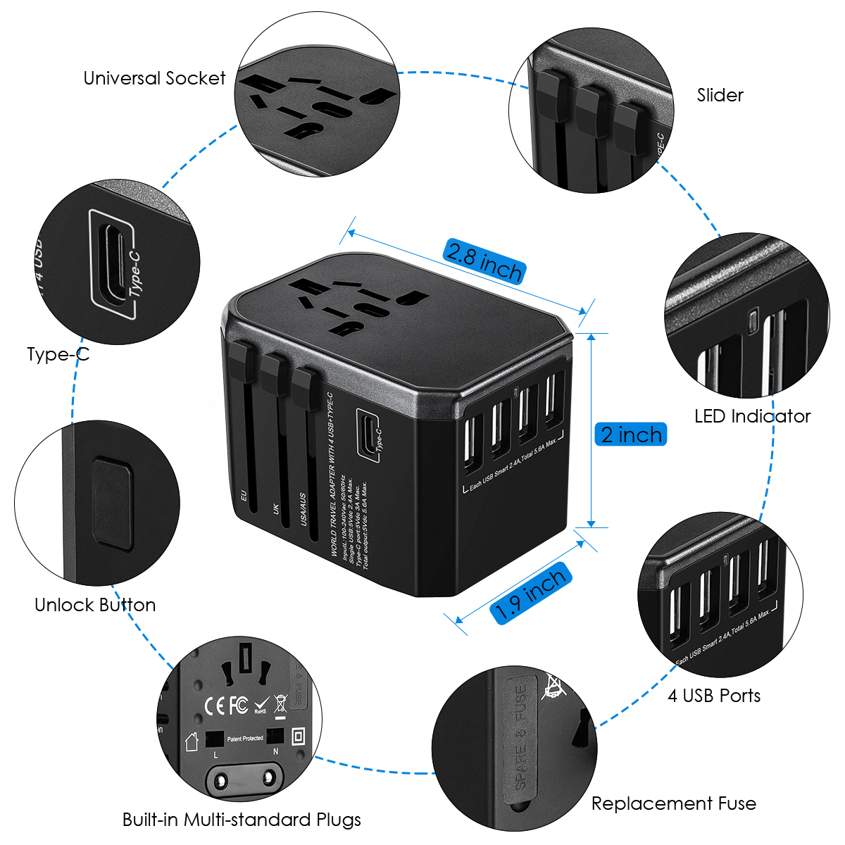 Bakeey 4 USB PD Type C Travel Wall USB Charger Adapater EU UK US AU For Phone Tablet Camera