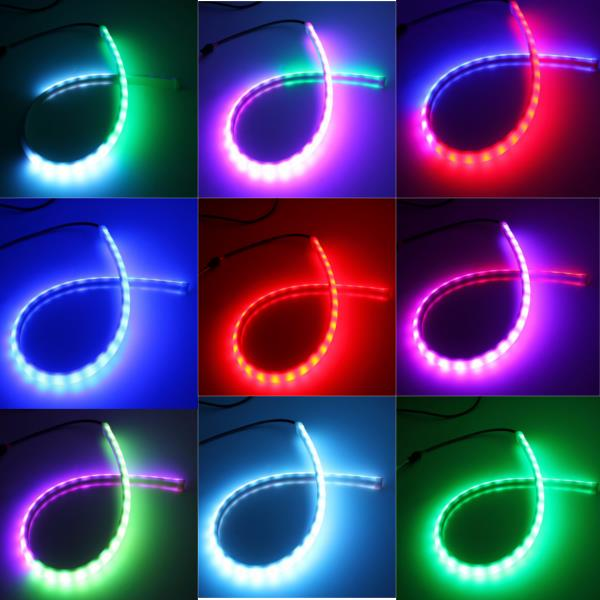 60CM RGB LED Strip Light Flexible Neon Hood Car Decorations Kit With Remote Control