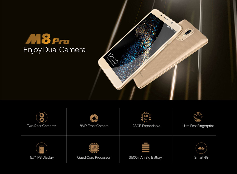 Leagoo M8 Pro 5.7'' Dual Rear Cameras Fingerprint 2GB RAM 16GB ROM MT6737 Quad-Core 4G Smartphone