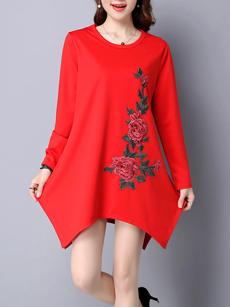 Casual Women Brief Flower Embroidery Irregular Party Mini Dress