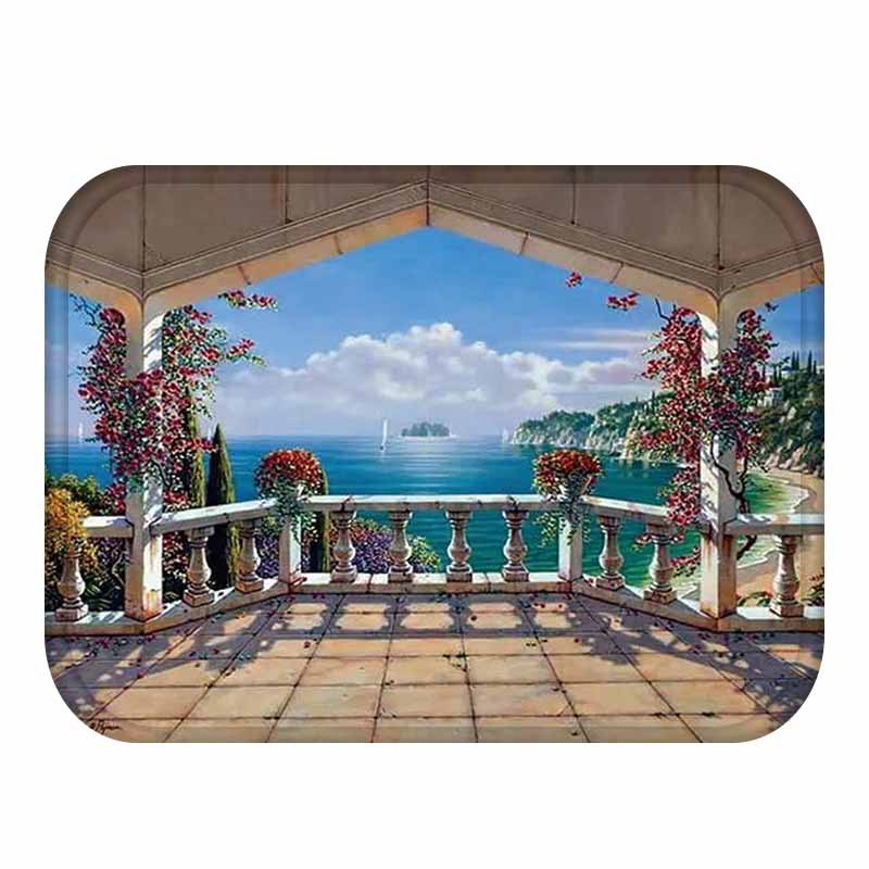 Honana BX-31 40x60cm 3D Painting City Pattern Coral Fleece Mat Absorbent Bathroom Anti Slip Carpet