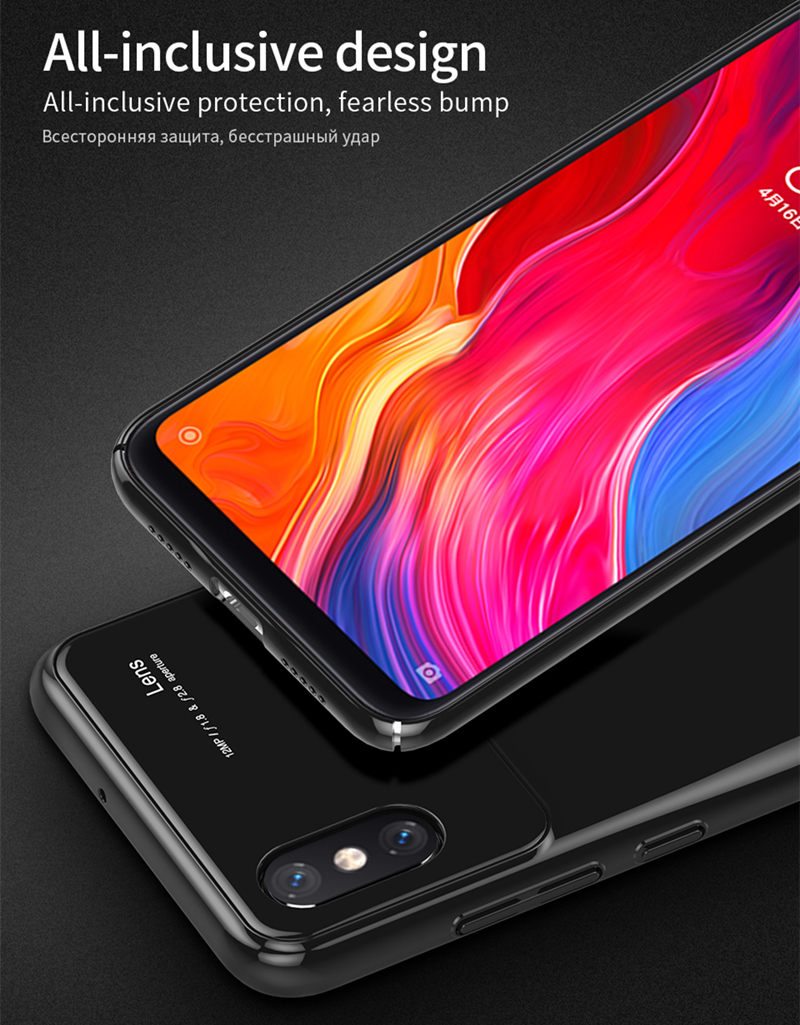 Bakeey Bright UV Surface Shockproof Tempered Glass Soft TPU Protective Case For Xiaomi Mi8