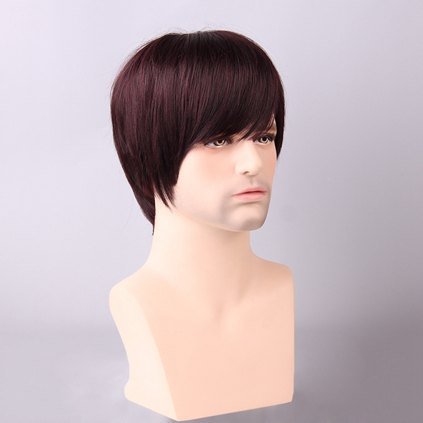 Red Mixed Black Men Short Human Hair Wig Side Bang Male Mono Top Virgin Remy Capless