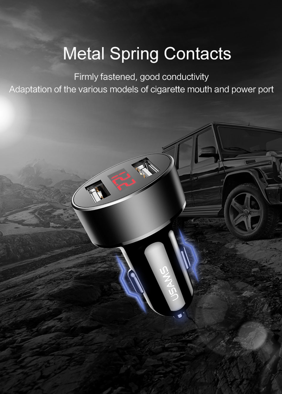 USAMS US-CC045 2.1A 2Ports USB Car Charger With LED Display For iphone X 8/8Plus Samsung S8 Xiaomi6