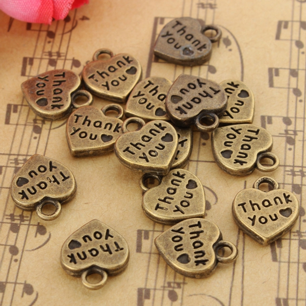 15Pcs Silver Bronze Love Heart Shape Thank You Pendant Charm DIY