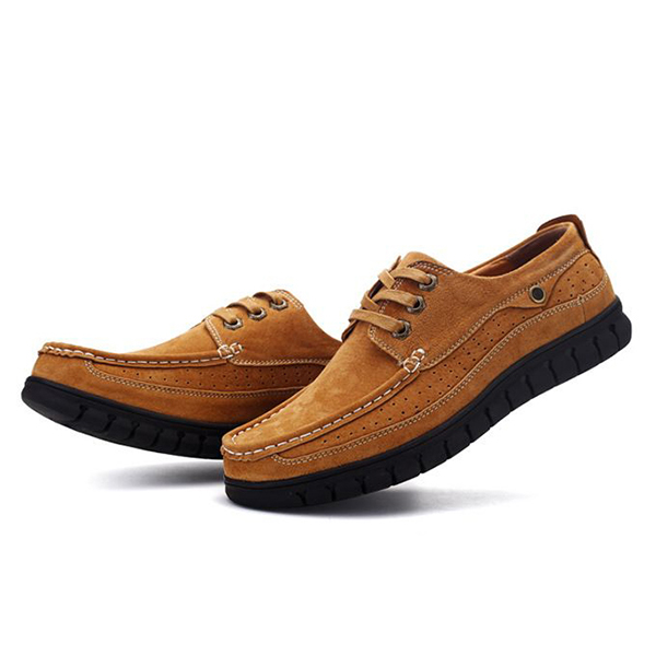 Men Comfortable Hnad Stitching Soft Sole Lace Up Oxfprds Shoes