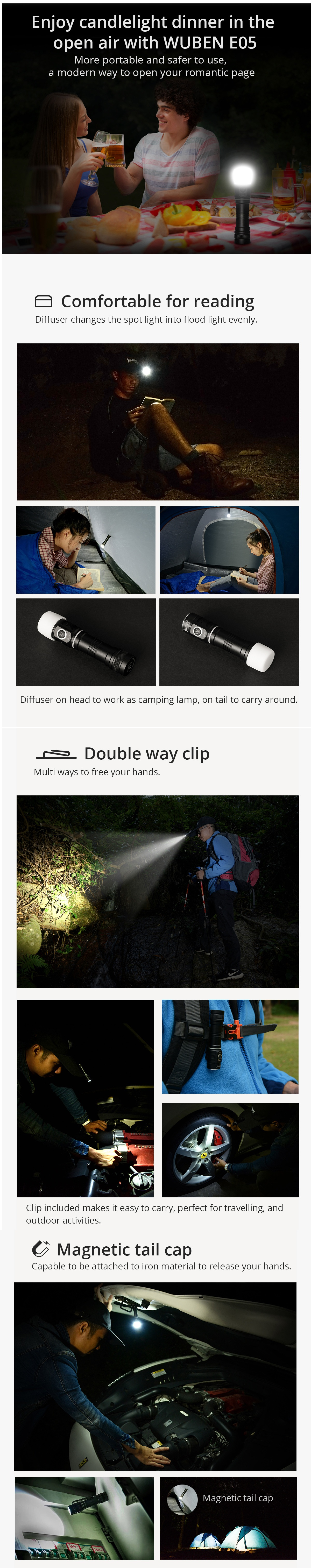 Wuben E05 XPL 6Modes 900Lumens Magnetic Tail EDC LED Flashlight Reading Light with Diffuser 14500