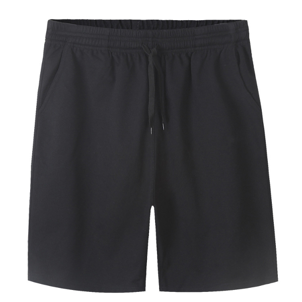 Plus Size Mens Cotton Shorts Elastic Waist Solid Color Loose Casual Sport Knee-length